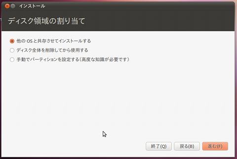 Ubuntu 10.10 インストール パーティション