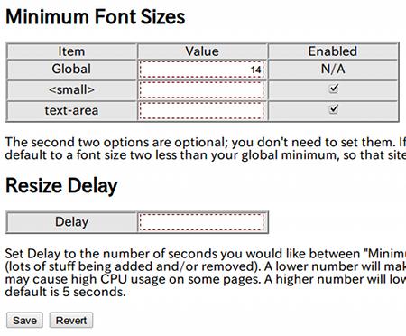 Minimum Font Chrome拡張機能 文字サイズ拡大 オプション