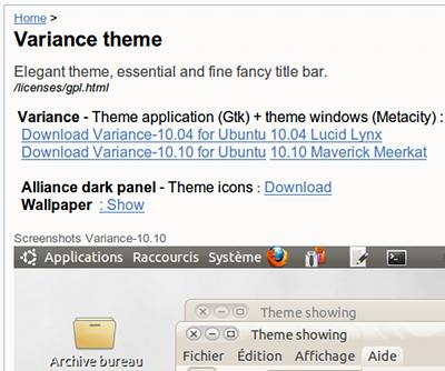 Variance Ubuntu デスクトップテーマ ダウンロード