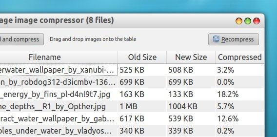 Trimage image compressor Ubuntu 画像の圧縮結果