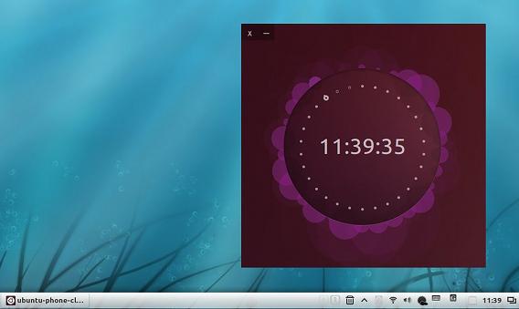 Ubuntu Phone Clock 時計ウィジェット 紫色
