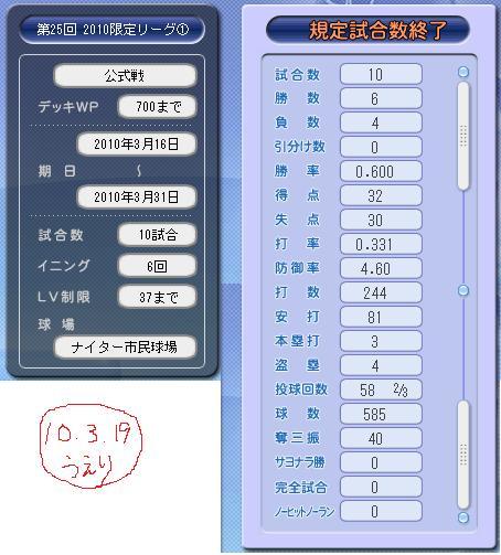 10.3.19 限定①成績