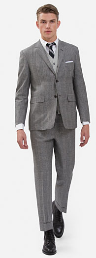 black fleece plaid classic suit