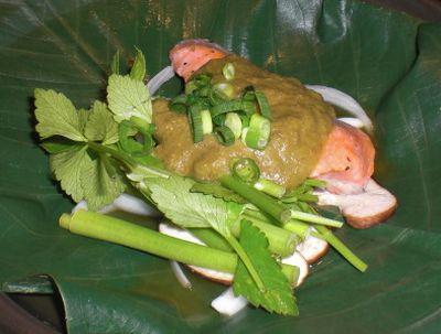 大鱒と芹のふきのとう味噌焼き
