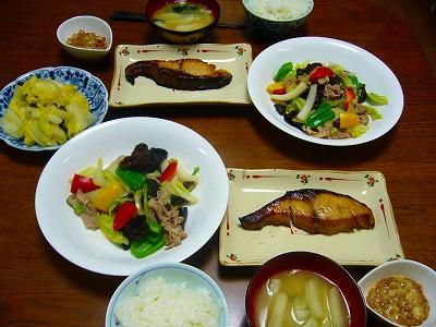 ぶり照り&野菜炒め