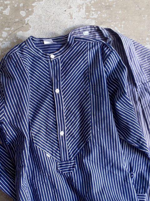 ロングシャツ ヒッコリーストライプ