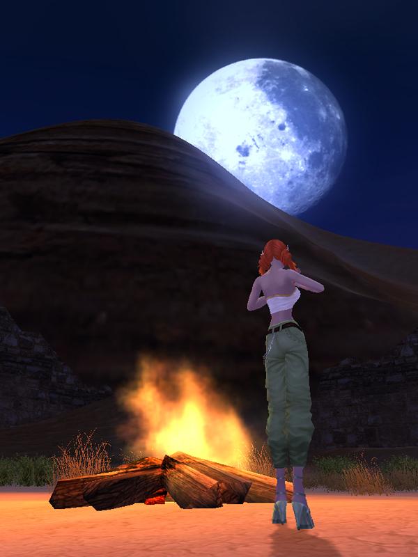 砂漠の村の月