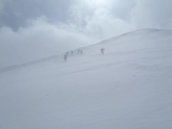 吹雪のシャクナゲ岳