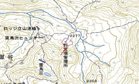テント場周辺のGPSマップ