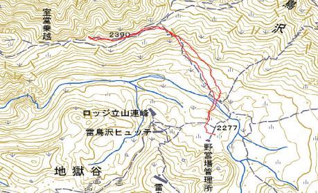 室堂乗越へのGPS地図