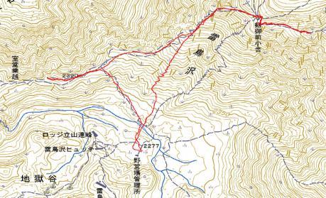 別山へのGPS地図