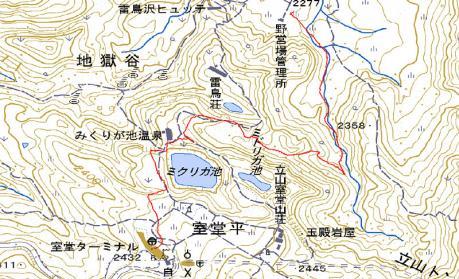 室堂ターミナルへのGPS地図