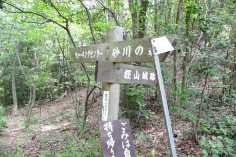 経山への分岐点の道標