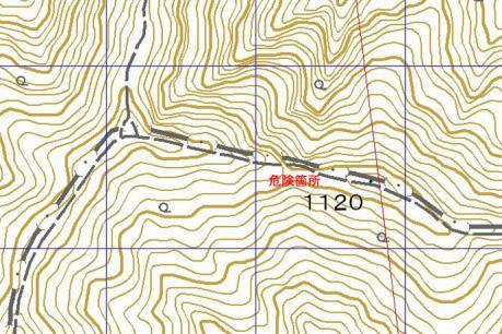 ナイフリッジの尾根地図