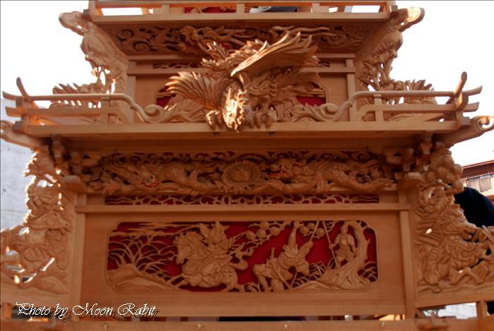 (2010 西条祭り関係) 上神拝だんじり(屋台)正月展示・だんじり彫刻(透かし彫りによる欄間彫刻) 西条市上神拝 だんじり蔵・上神拝集会所(大通寺) 2010年1月2日・3日