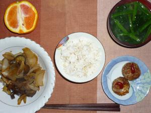 胚芽押麦入りご飯,ミニバーグ×2,茄子と玉ねぎの甘辛炒め,ほうれん草のおみそ汁,オレンジ