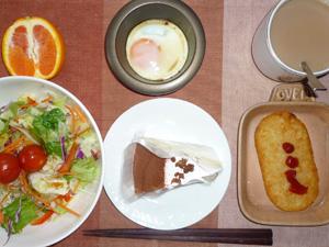 チーズケーキ,サラダ,ハッシュドポテト,目玉焼き,オレンジ,コーヒー