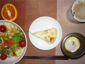 チーズケーキ,サラダ,目玉焼き,オレンジ,コーヒー