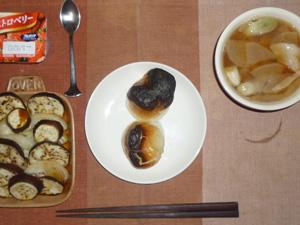 丸餅×2,焼き茄子と焼き玉ねぎ,豚汁,ヨーグルト