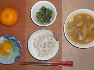 胚芽押麦入り五穀米,卵,豚汁,ほうれん草のおひたし,みかん