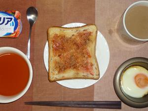 イチゴジャムトースト,野菜スープ,目玉焼き,ヨーグルト,コーヒー