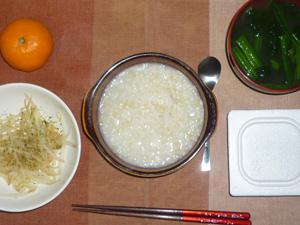 玄米粥,納豆,蒸しもやし,ほうれん草のおみそ汁,みかん