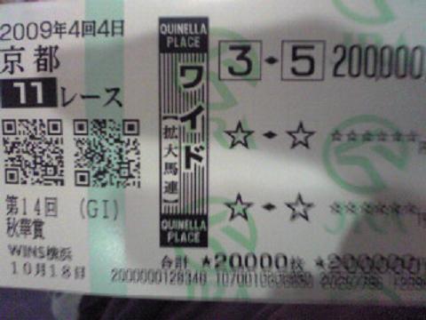 2009 秋華賞 ブエナーレッド