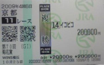 2009 菊花賞 イコピコ