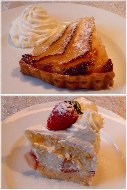洋ナシのタルトと苺ショートケーキ@鴻巣カフェ