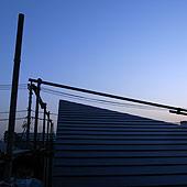 夕方の屋根
