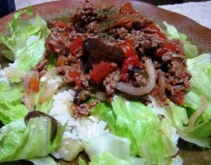 茄子とひき肉ごはん1