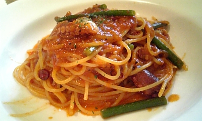 たことニンニクの芽のトマトスパゲッティ
