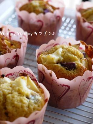 紫芋とりんごのクリームチーズマフィン☆
