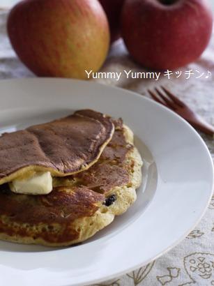シナモン香る☆刻みリンゴのパンケーキクリチー&レーズン入り♪