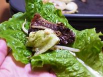 今日は焼き肉!サンチェ巻き牛肉×生姜