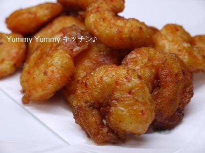 キムチ風味の海老の天ぷら☆