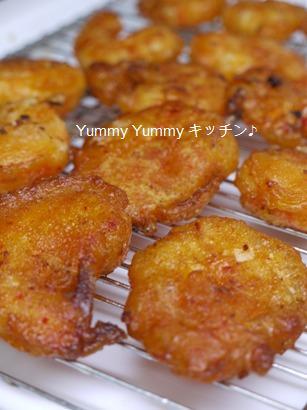 キムチ風味の海老の天ぷら♪手順3