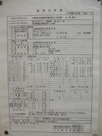 2011年7月 民宿ちるい 温泉分析表1