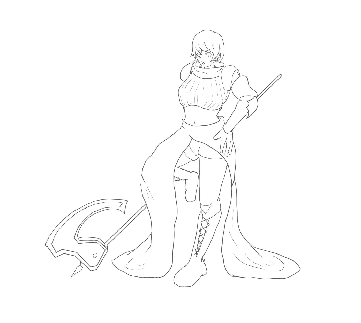 女戦士 線画