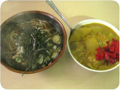 野菜天そば+ミニカレーライス