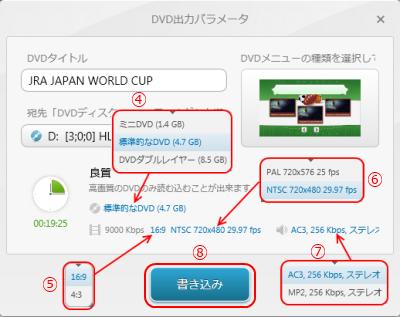 DVD出力パラメータ2