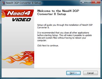 Need4 Free 3GP Converter インストール