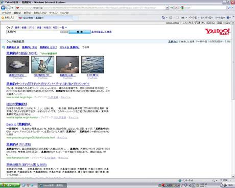 Yahoo!検索で「黒鯛釣り」を見る?
