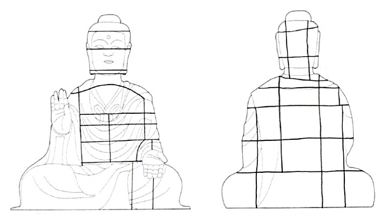 飛鳥大仏の鋳境線の模式図(桜庭氏作成・シンポジウムスライド)