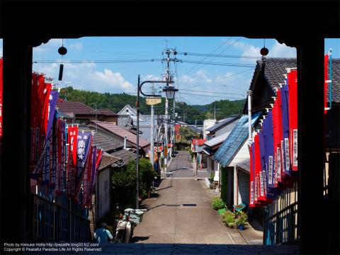 岩本寺の門から町を望む