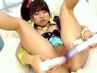 【無修正】パイパン美少女 深海沙織のダブルディルドオナニー!