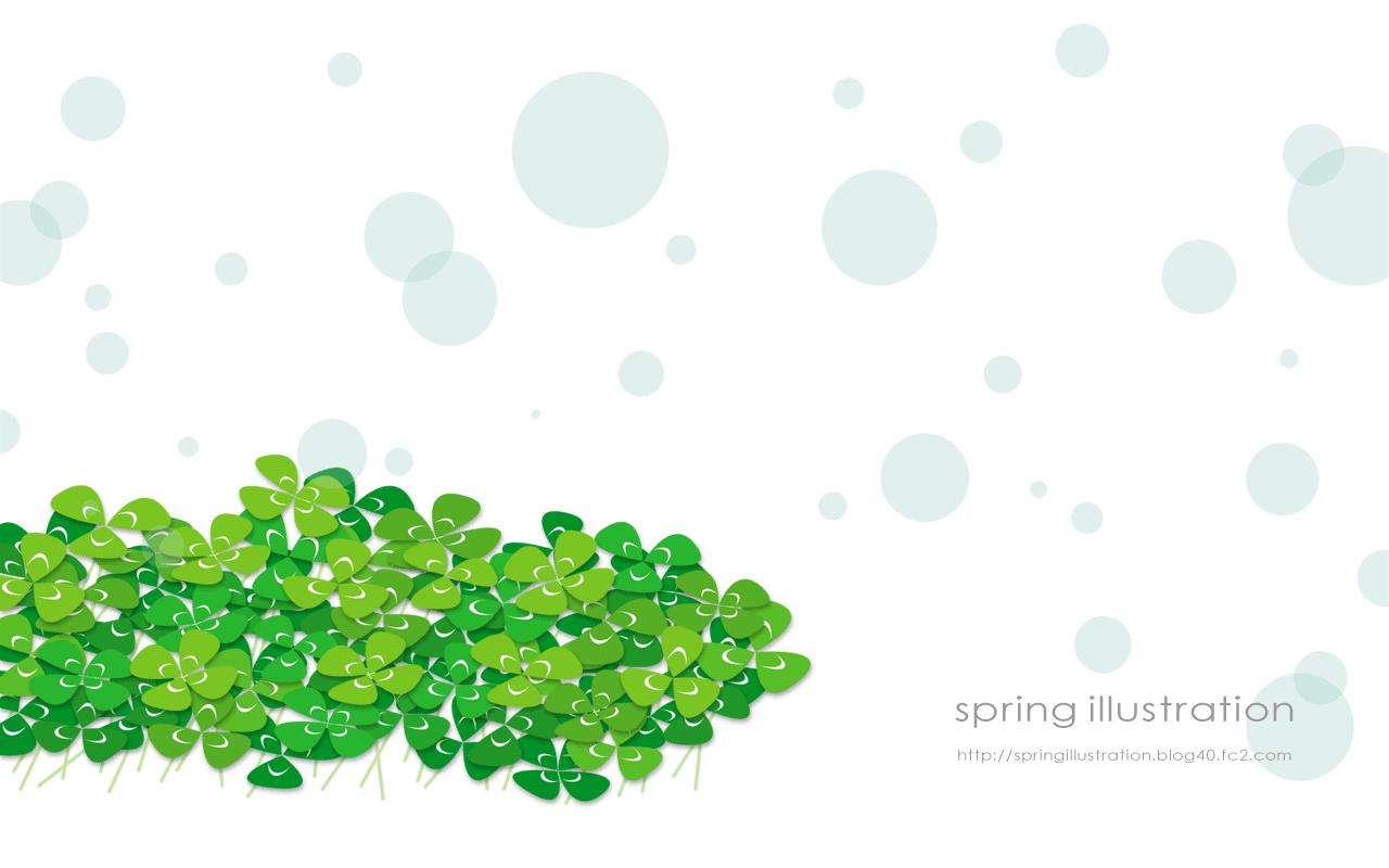 クローバー 植物のイラスト壁紙 Spring Illustration