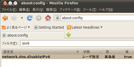 Ubuntu 10.04 LTS Firefox IPv6無効 高速化