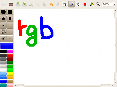 rgbPaint Ubuntu ペイントソフト 線を描く
