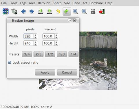 Fotoxx Ubuntu 画像編集ソフト リサイズ